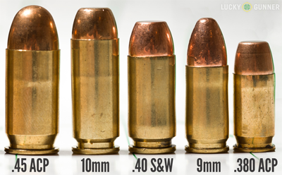 Comparação visual entre os calibres citados. O .380 é o único desses liberado para uso civil no Brasil.