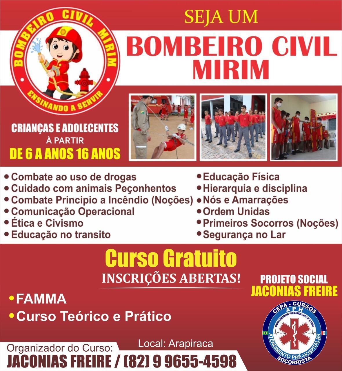 CEPA - CURSOS: Projeto social Jaconias Freire: Curso gratuito Bombeiro Civil Mirim