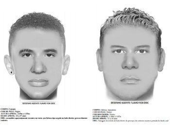 Imagens do retrato falado dos suspeitos divulgadas pela Polícia Civil