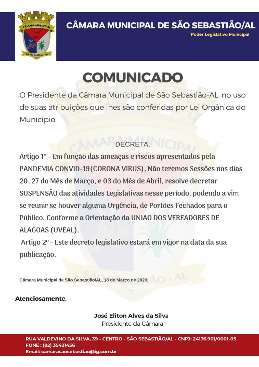 Câmara de Vereadores de São Sebastião suspende as sessões por orientação da UVEAL