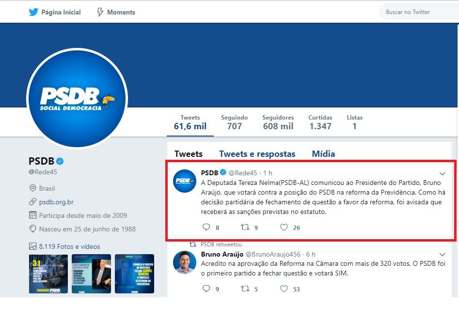 PSDB manda recado para Tereza Nelma